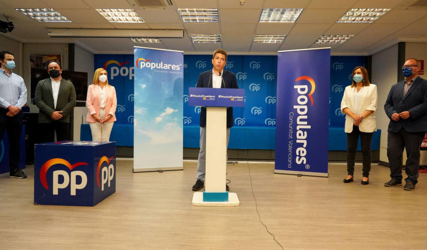 Carlos Mazón, anunciando su candidatura el 7 de mayo
