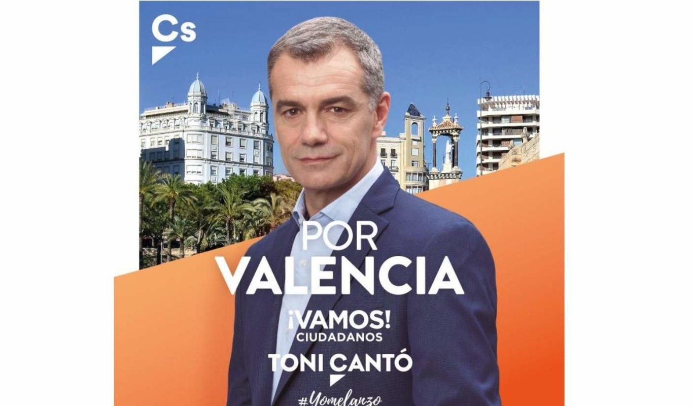 Cartel de la candidatura de Toni Cantó en la Comunidad Valenciana.